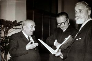 Renzo  Gandolfo con Giuseppe Pella e Arrigo Olivetti